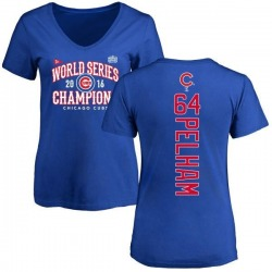 Women's C.D. Pelham Chicago Cubs 2016 World Series Champions Back Name & Number V-Neck T-Shirt - Royal
